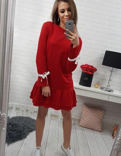 81db5570bdb2 BASIC Dámske červené dlhé šaty s volánikmi (ey0207) - Glami.sk