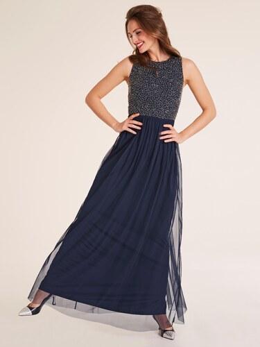8bf6b8abe7d2 heine TIMELESS večerné šaty s aplikáciami tmavomodrá-zlatá - Glami.sk