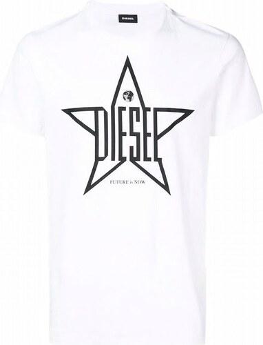 66bf60838ab Pánské tričko Diesel T Diego Yh Tshirt bílé 00SNRE 0091A - Glami.cz