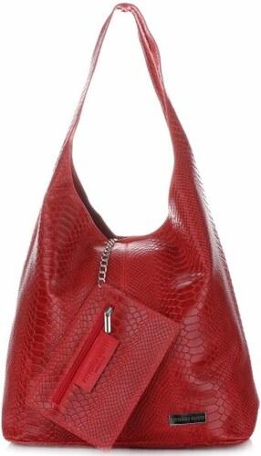 e1caa4be12 Velká dámská kožená kabelka Shopper Aligátor Vittoria Gotti červená ...
