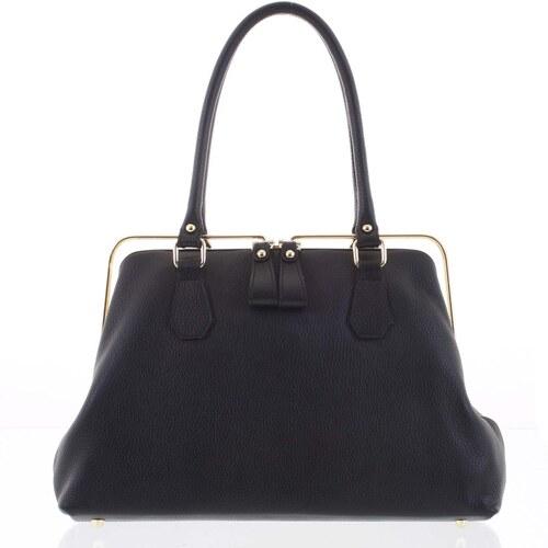 60a176eb2085 Retro luxusná dámska kožená kabelka čierna - ItalY Esme čierna ...