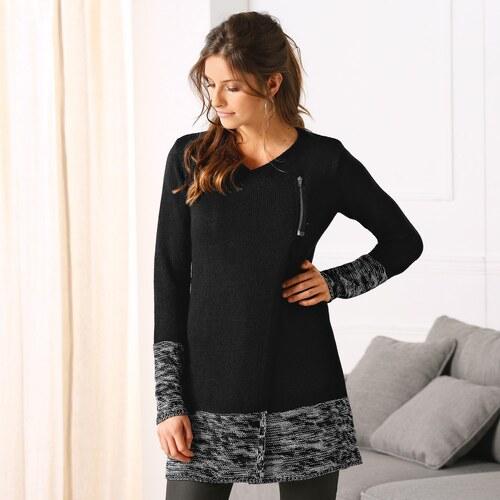 2a3a525b1f70 Blancheporte Dlhý dvojfarebný paleto sveter čierná sivá - Glami.sk