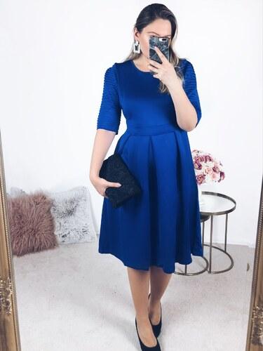 332e17e0ef05 ZAZZA Modré šaty s krátkym rukávom pod kolená - Glami.sk