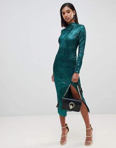 a735880a387d -31% Club L London Club L high neck all over sequin open back midi dress -  Green