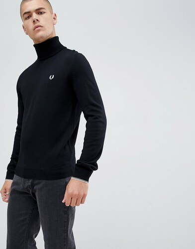 78064ebe269e5 Fred Perry roll neck merino knitted jumper in black - Black - Glami.cz