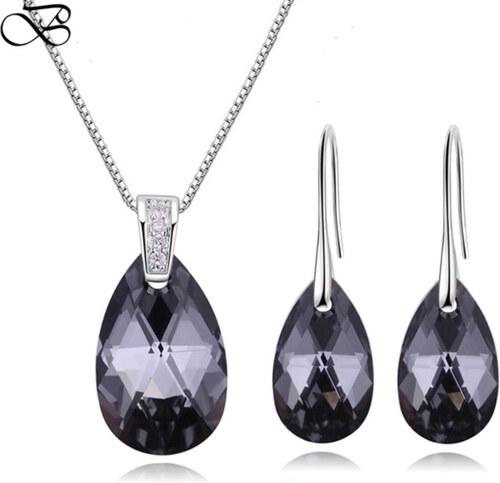 Glory Set náhrdelník a náušnice Water drop Swarovski elements Silver night 3b1bf159c9d