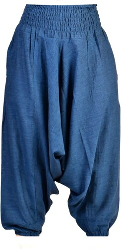Tmavě modré kalhoty s žabičkováním v pase a kapsami FREE - Glami.cz e0810401a1