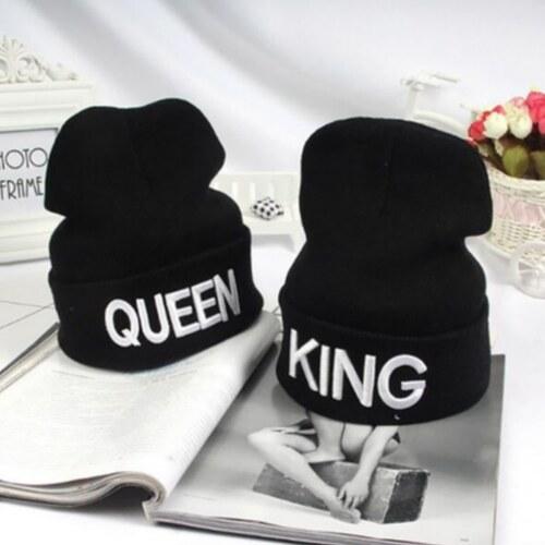 92a2a85b0ee V V Zimní čepice pro páry s nápisem KING nebo QUEEN (varianta KING ...