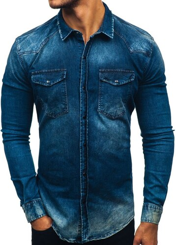 027470c8200 Tmavě modrá pánská džínová košile s dlouhým rukávem Bolf 2063 - Glami.cz