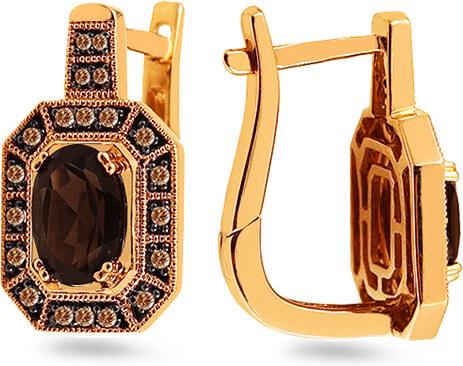 44c7b4691 iZlato Forever Zlaté náušnice s dymovým quartzitom a champagne diamantmi  0.200 ct KU1179