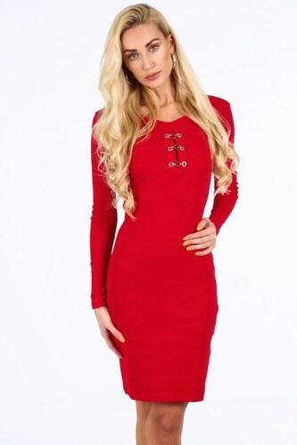 3ac0cdfca7 Fasardi Moderné šaty s dekoratívnymi prvkami vo výstrihu