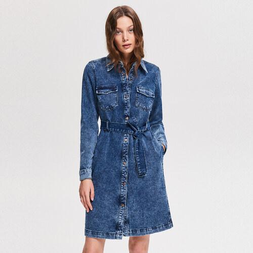 c2617d04ae12 Reserved - Džínsové košeľové šaty - Modrá - Glami.sk