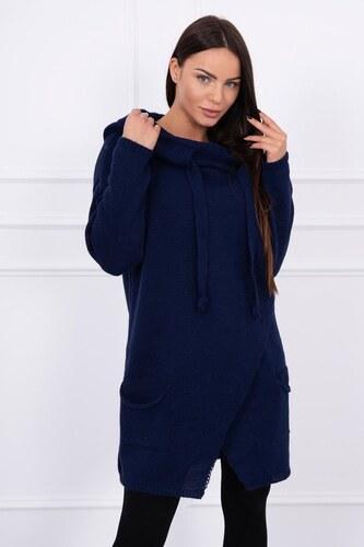 MODANOEMI Dámsky pletený modrý sveter s kapucňou S7597M - Glami.sk bd85b3680f7