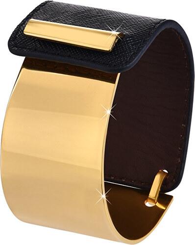 Troli Fashion náramok z ocele a kože zlatý   čierny - Glami.sk 2e13bca7e22