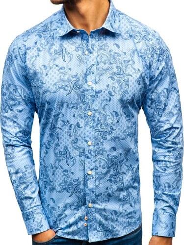 f0f5fba7888e Svetlomodrá pánska vzorovaná košeľa s dlhými rukávmi BOLF 301G74 ...