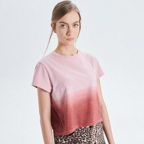 4c667b5dc23e Cropp - Batikované tričko - Růžová - Glami.cz