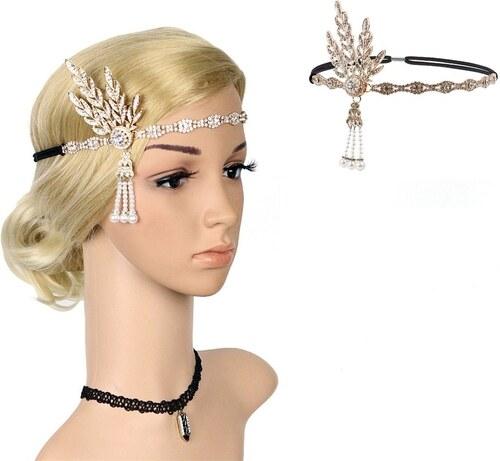 B-TOP Luxusní čelenka do vlasů s kamínky ve stylu VELKÝ GATSBY - pozlacená 88a850d67c
