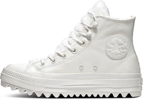 5c2fe518da Converse Dámske biele kožené vysoké tenisky Chuck Taylor All Star Lift  Ripple