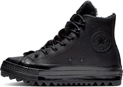 b2d1a20c54f Converse Dámské černé vysoké kožené tenisky Chuck Taylor All Star Lift  Ripple
