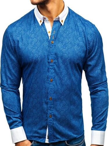 d8534b2f696b Tmavomodrá pánska vzorovaná košeľa s dlhými rukávmi BOLF 8842 - Glami.sk