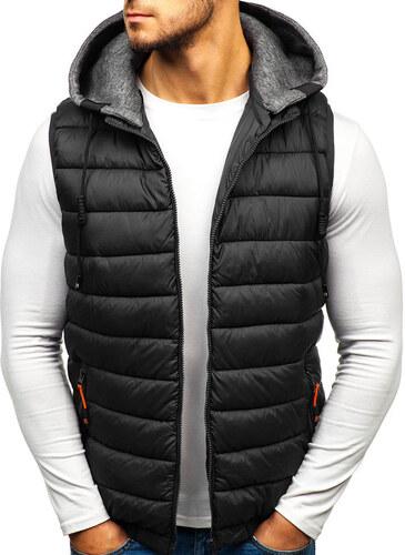 Čierna pánska prešívaná vesta s kapucňou BOLF 1261 - Glami.sk efce82128e1