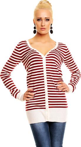 Dámský slušivý svetr Sweet girl - červenobílý