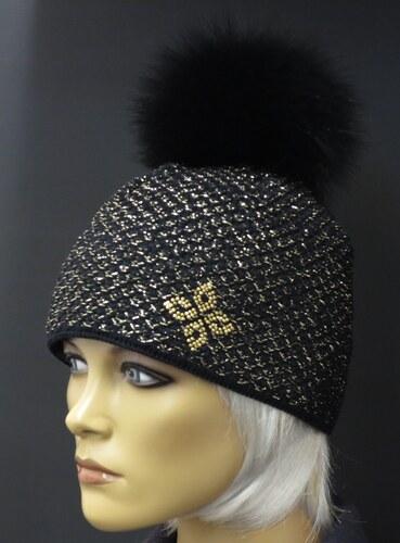 8d5a3f3b328 R-Jet Luxusní pletená čepice s pravou kožešinovou bambulí 608 černá + zlatý  lurex