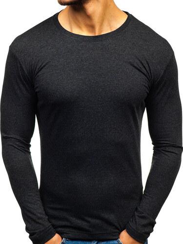 0f88118bd5f Nové Antracitové pánské tričko s dlouhým rukávem bez potisku Bolf 1209