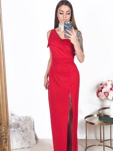 71eea315327f ZAZZA Červené spoločenské šaty cez jedno v rameno - Glami.sk