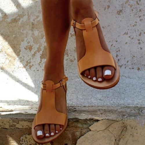 f675370f12e8 OUTBENE Sandále Gladiátorky z PU kůže v jednoduchém stylu