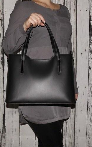 Talianske luxusné kožené kabelky cez plece čierne Carina veľké f3f455a1758