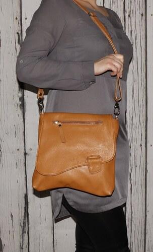 Talianske kožené kabelky dámske cez rameno stredné hnedomedové Olina ... 9d1dd5cc413