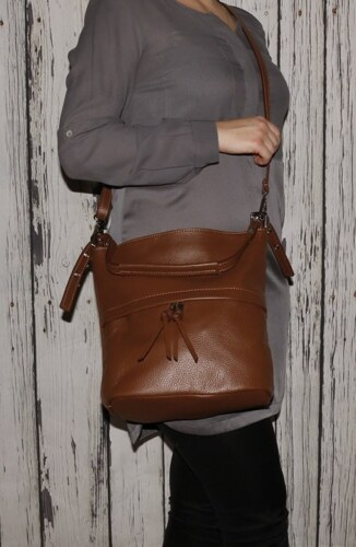 Talianske dámske crossbody kožené kabelky Vera Pelle hnedé Angola d6c38c07b62