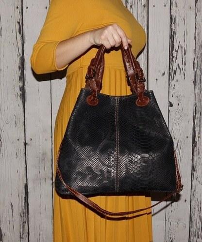 TALIANSKE Talianska veľká kožená kabelka čierna Vanda k denimu 6f2f17003d9