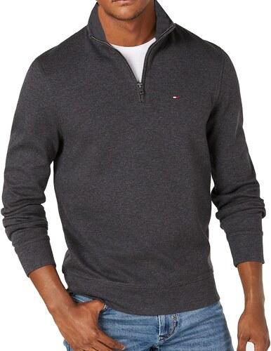 Tommy Hilfiger Pánský tmavě šedý svetr Tommy Hilfiger se zipem 5858 ... 60d35e3223