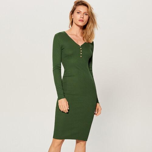 bb50a9d3f6f7 Mohito - Priliehavé šaty z prúžkovaného úpletu - Zelená - Glami.sk