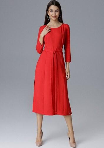 ae78c52fa34e FIGL Červené šaty s mašľou M631 Red - Glami.sk