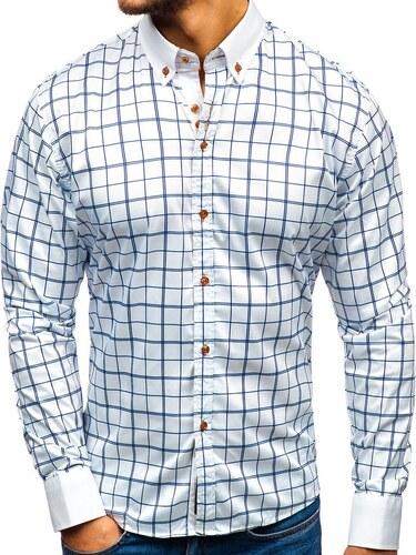 2af54b23d2c3 -9% Bielo - tmavomodrá pánska elegantá košeľa s dlhými rukávmi BOLF 8842-1