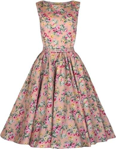 AUDREY růžové květované - Retro šaty inspirované padesátými léty ... 7c37eb1ffe