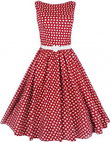 AUDREY červené puntíkaté šaty ve stylu padesátých let - Retro Šaty ... aac17c19c9