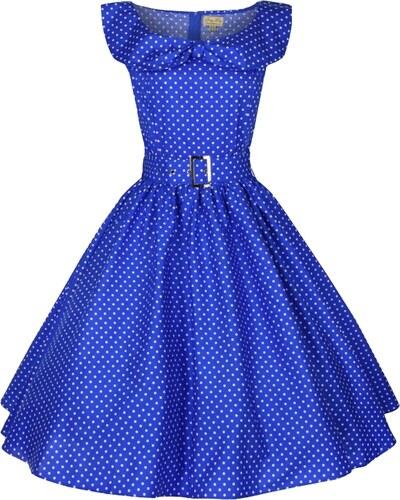 HETTY světle modré puntíkaté šaty ve stylu padesátých let - Retro Šaty 7ac4c672b5