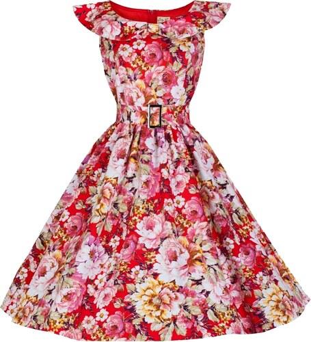 HETTY červené květované retro šaty inspirované padesátými léty ... cf6a852522