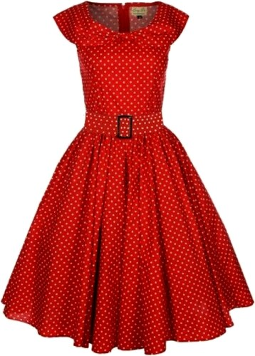 HETTY červené puntíkované retro šaty inspirované padesátými léty ... b4469563c0