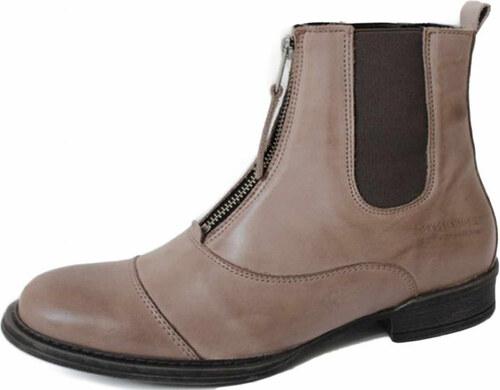 Dámské kotníkové boty na zip Ten Points PANDORA 120007 béžové - Glami.cz c9b60701ce
