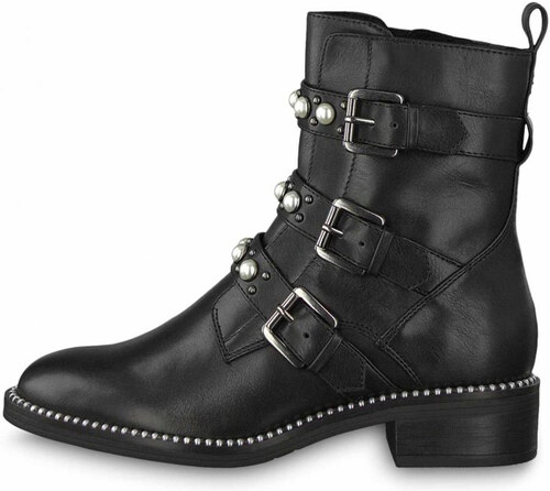 c83203d0191 Tamaris kožené kotníkové boty 1-25396-21 s perlami black - Glami.cz