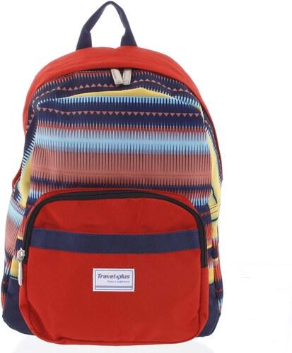 Střední dámský červený batoh na výlety - Travel plus 0643 barevná ... cc52b1a43d