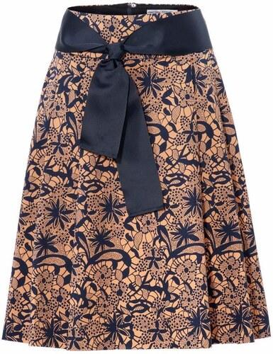 9327bed28fcf heine TIMELESS Formujúca vzorkovaná sukňa s efektom brúško preč námornícka  modrá-ťavia