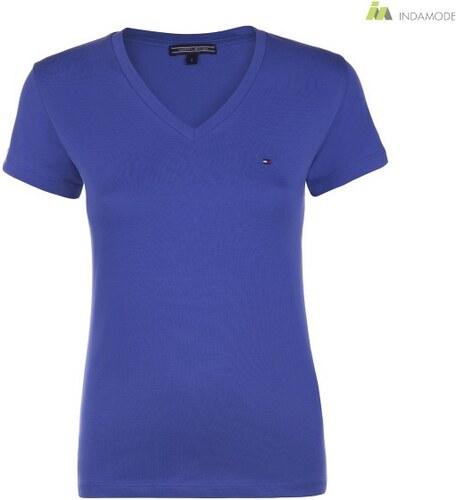 65318c5e78 Tommy Hilfiger klasszikus V nyakú sötétkék színű női póló - Glami.hu