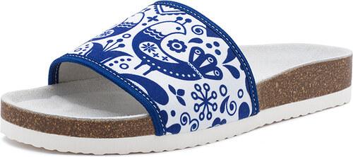 Barea Dámske modro-biele kožené šľapky 106052 - Glami.sk 7a54866faad