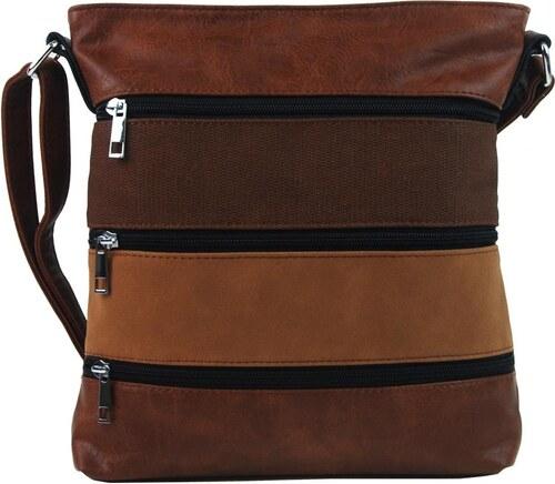 7ba273ded5 New Berry Hnědá dámská crossbody kabelka s čelními kapsami NH6014 ...